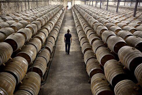 Barrels of Remy Martin Fine Champagne Cognac Sit in Cognac