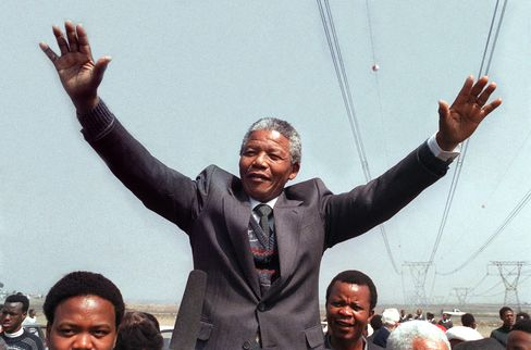 Mandela Greets Supporters in Tokoza in 1990