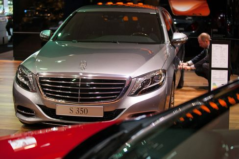A Mercedes-Benz S350 Automobile Stands in a Showroom in Berlin