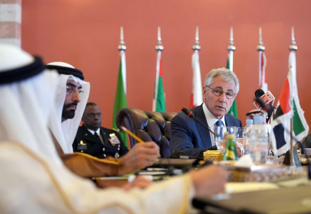 """""""I can play a bit of a role as a facilitator.""""Chuck Hagel speaks during the opening session of the Gulf Cooperation Council on May 14.Photographer: Mandel Ngan - Pool/Getty Images"""