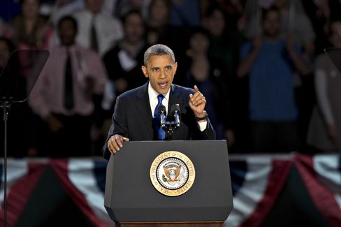 U.S. President Barack Obama makes an acceptance speach during an election night rally in Chicago, Illinois, U.S., on Tuesday, Nov. 6, 2012. Photographer: Daniel Acker/Bloomberg