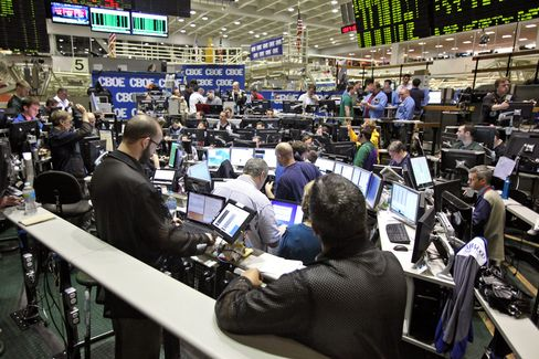 Traders Work in the Volatility Index Options Pit at CBOE