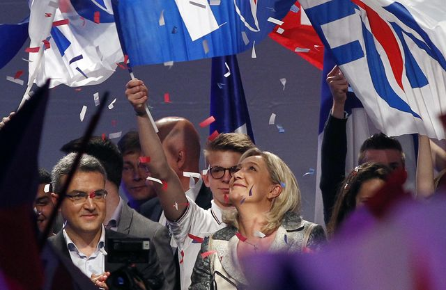 Marine Le Pen celebrates Far Right Victory in France. Photograph by Chesnot/Getty Images