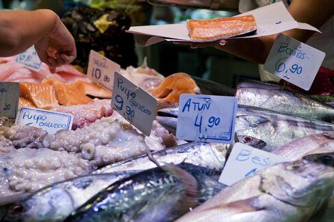 Fish Market Stall At La Boqueria Market In Barcelona