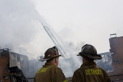Firefighters Battle an Apartment Fire in Detroit