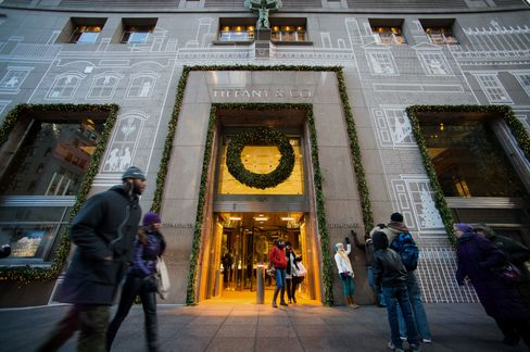 Customers Exit a Tiffany & Co. Store in New York