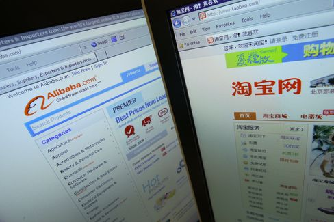 The Alibaba.com and Taobao.com Websites are Displayed