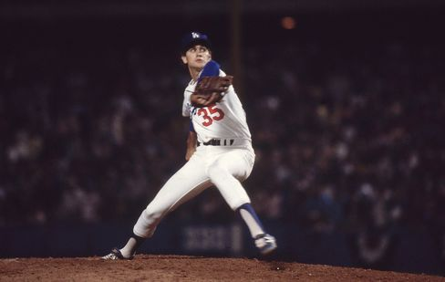 Los Angeles Dodgers pitcher Bob Welch in action against the New York Yankees, in Los Angeles, October 1978. Photographer: James Drake/Sports Illustrated via Getty Images