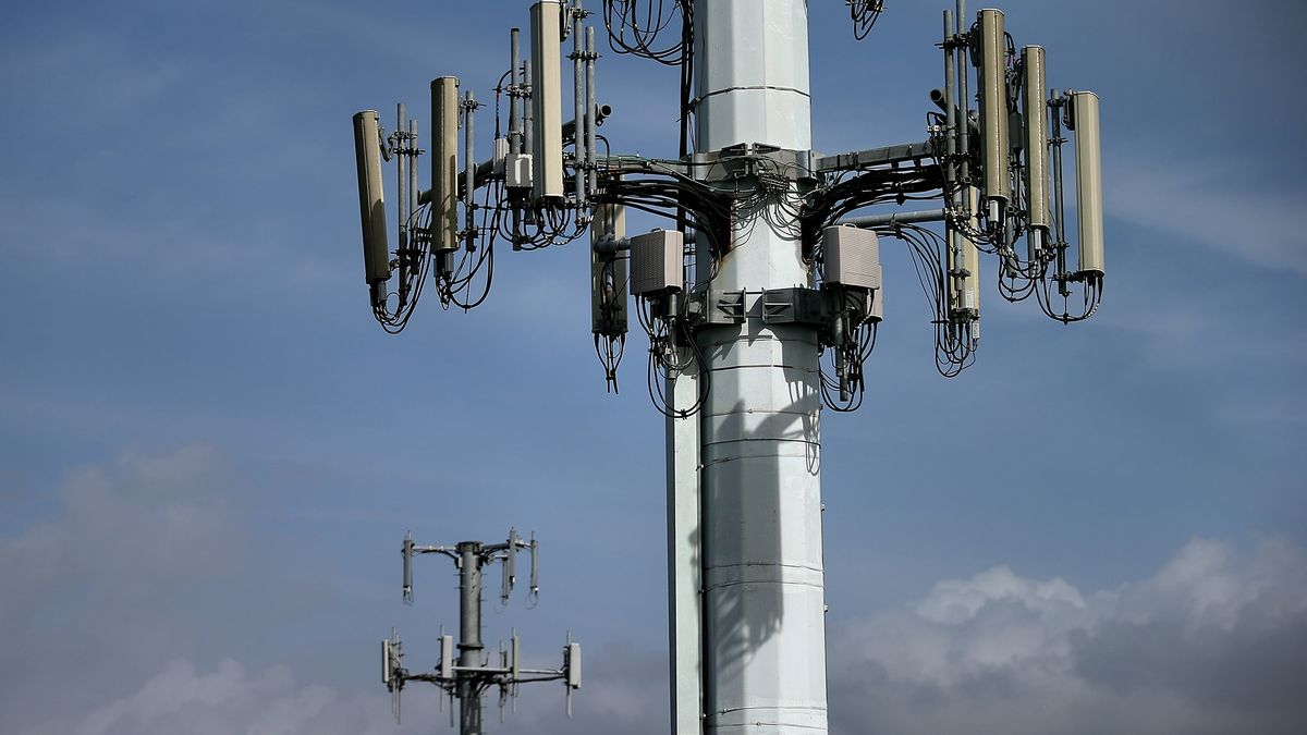 Cellular communication towers in Emeryville, California.
