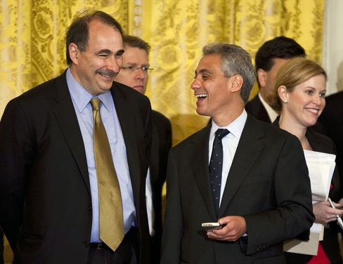 David Axelrod and Rahm Emanuel at the White House