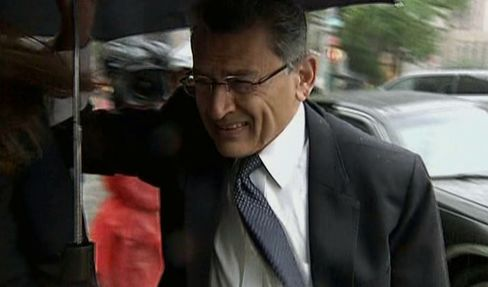 Rajat Gupta, former Goldman Sachs Inc. director and former senior partner at McKinsey & Co., arrives at federal court in New York on May 21, 2012. Photographer: Bloomberg TV