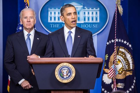 """""""The deficit needs to be reduced in a way that's balanced,"""" Obama said at the White House. He said he wants top earners and corporations to pay even more and that Congress must raise the debt ceiling. """"Everyone pays their fair share. Everyone does their part,"""" he said. Brendan Hoffman/Pool via Bloomberg"""