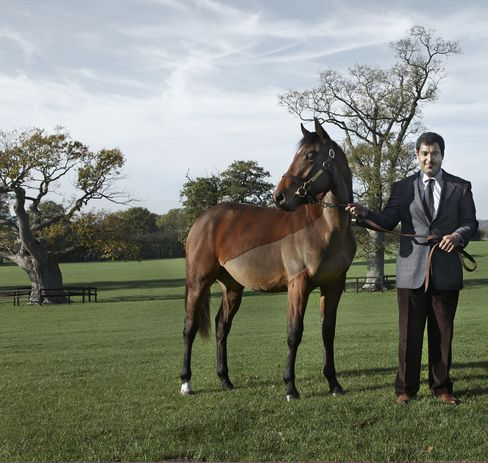 Sheikh Fahad Bin Abdullah Al-Thani of Qatar parades an unnamed colt, bought for 60,000 pounds, at Tweenhills Farm and Stud outside of London. Photographer: Jude Edginton/Bloomberg Markets via Bloomberg