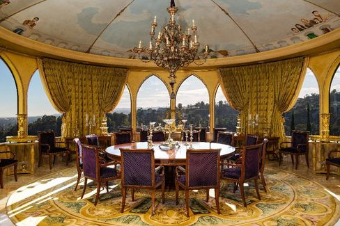 The ballroom of the seven-bed, 10-bath, 18,000-sq-ft mansion. Listed for $135 million. (That gold leaf crown molding doesn't come cheap.)