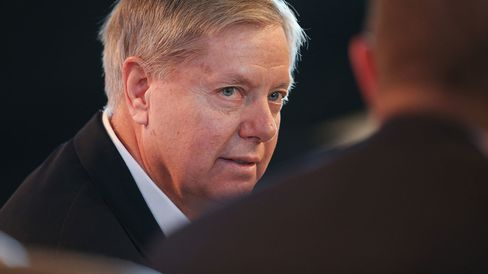 Senator Lindsey Graham fields questions on March 7, 2015, in Des Moines, Iowa.