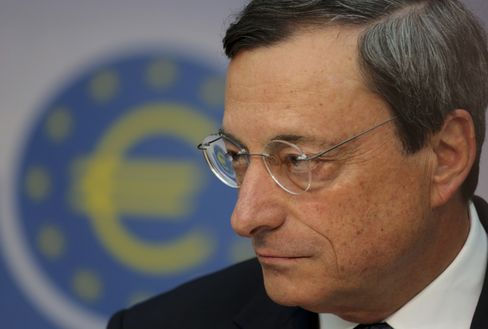 Mario Draghi, president of the European Central Bank (ECB). Photographer: Hannelore Foerster/Bloomberg