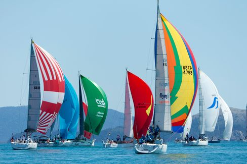 A colorful sight to see, with the spinnakers unfurled during Day 3's races.