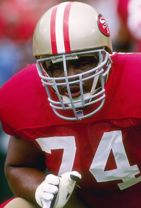 A file shows San Francisco 49ers Offensive lineman Steve Wallace wearing a ProCap-topped helmet during a game in September 1995. Photographer: Otto Greule Jr./Allsport via Getty Images