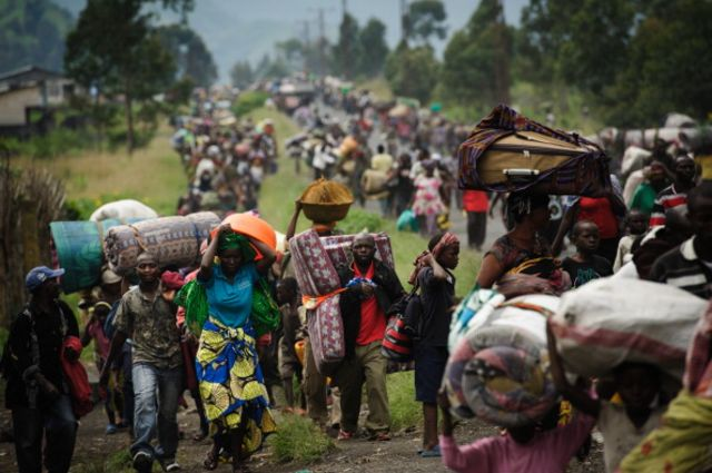 Civilians flee fighting in the Democratic Republic of Congo.