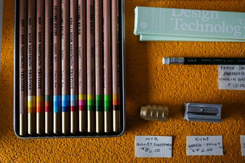 A trio of mint green pencils (in box) from Japan is Weaver's favorite at the moment.