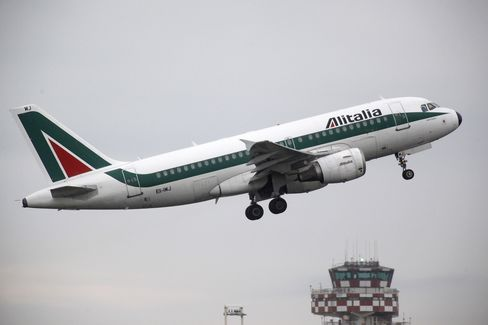 An Alitalia Aircraft Takes Off from Fiumicino Airport in Rome