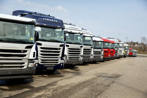 Scania Trucks Stand at the Scania AB Plant in Sodertalje