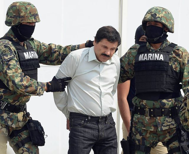 "After 13 years, Mexico busted ""El Chapo,"" the country's most-wanted drug lord. Photographer: Alfredo Estrella/AFP/Getty Images"