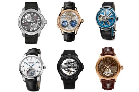 Clockwise from top left: Blancpain L-evolution C Tourbillon Carrousel, Montblanc Villeret Tourbillon Cylindrique Geosphères Vasco da Gama, Fabergé Visionnaire, Carl F. Bucherer Manero Tourbillon, Raymond Weil Nabucco Cello Tourbillon, Ulysse Nardin Ulysse Anchor Tourbillon