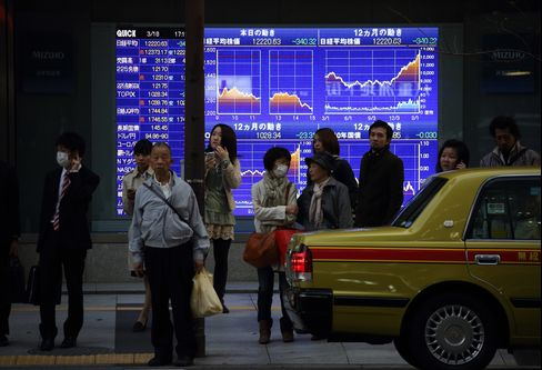 Asian Stocks Advance, Led by Japan, on Central Bank Stimulus