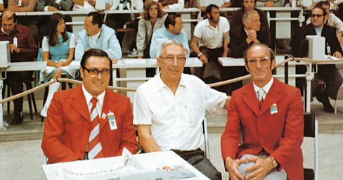The Technical Committee for the 1972 Munich Olympic basketball tournament, Manfred Stroher, left, R. William Jones, center, and Alistair Ramsay. Courtesy of FIBA