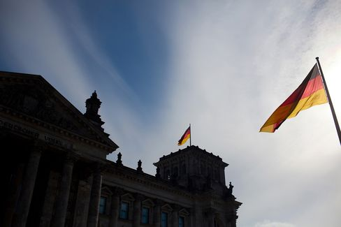 German National Flags Fly near the Reichstag