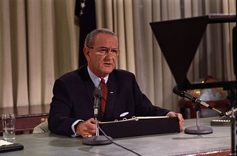 """The 111th Congress returned to Washington this week with a record of legislative achievement that rivals President Lyndon Johnson's """"Great Society."""" Source: Lyndon Baines Johnson Library and Museum via Bloomberg"""