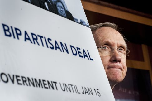Senate Majority Leader Harry Reid, a Democrat from Nevada, at a news conference at the U.S. Capitol in Washington, D.C. Photographer: Pete Marovich/Bloomberg