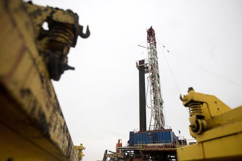 A Rig Drills for Natural Gas