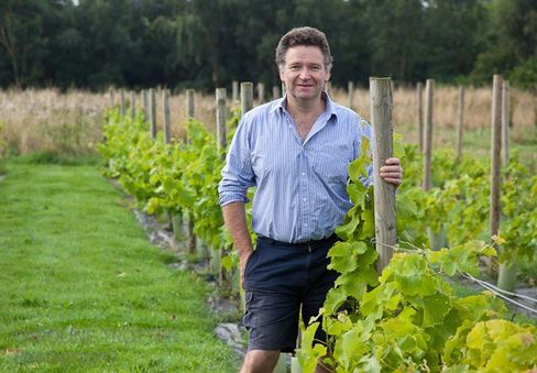 Chef and food writer Christopher Trotter stands in his vineyard in Fife, Scotland. Source: Christopher Trotter via Bloomberg