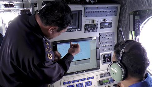 In this photo released by Malaysian Maritime Enforcement Agency, Admiral Mohd Amdan Kurish, director general of the Malaysian Maritime Enforcement Agency, left, checks a radar during a search for the missing Malaysia Airlines plane, off Tok Bali Beach in Kelantan, Malaysia on March 9, 2014. Source: Malaysian Maritime Enforcement Agency/AP Photo