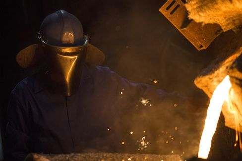 An Employee Works at a Foundry in Coalbrookdale