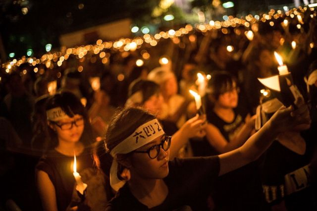 The 25th anniversary of Tiananmen was commemoratedin Hong Kong, but not on the mainland.
