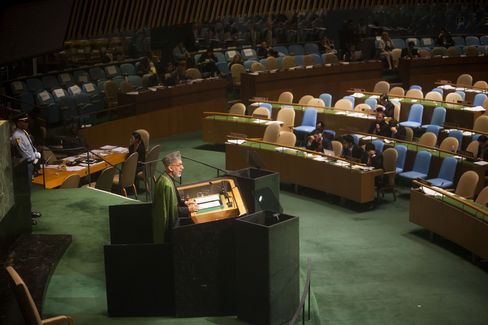 Hamid Karzai, President of Afghanistan, addresses the United Nations General Assembly in New York City on September 25, 2012. Photographer: Michael Nagle/Getty Images