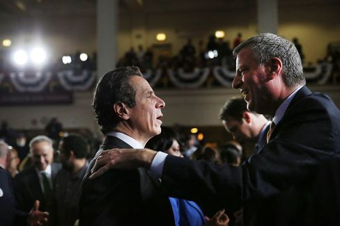 New York's Next Mayor Bill de Blasio and Governor Andrew Cuomo