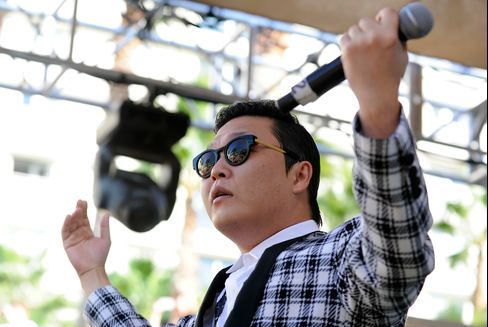 Psy, the Korean rapper, performs at the Hard Rock Hotel & Casino during Rehab, the resort's weekly pool party, on October 21, 2012 in Las Vegas, Nevada. Photographer: David Becker/Getty Images
