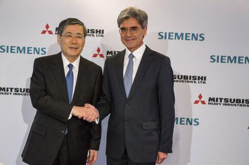 Mitsubishi Heavy's Shunichi Miyanaga and Siemens' Joe Kaeser