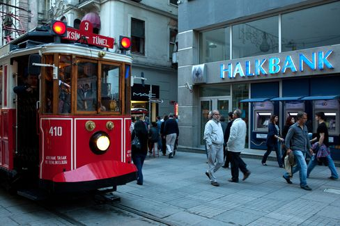 A Tram Passes a Branch of Halkbank in Istanbul