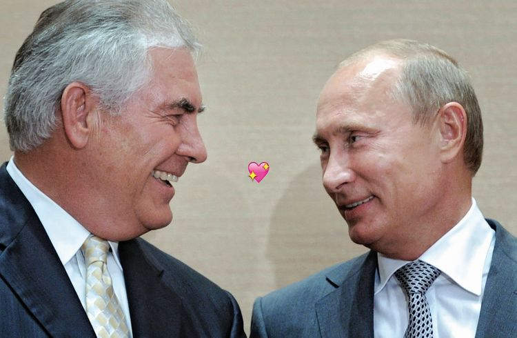 Photo of Rex Tillerson & his friend politician  Putin -