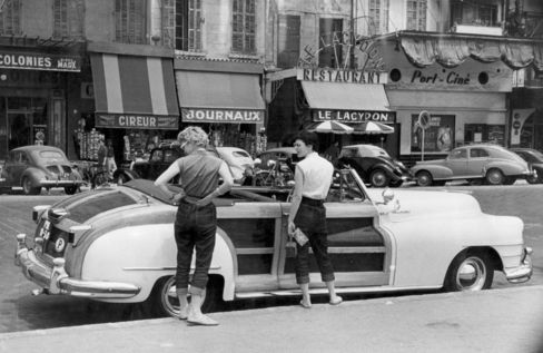 A 1947 Chrysler Town & Country Car Stands in Marseille