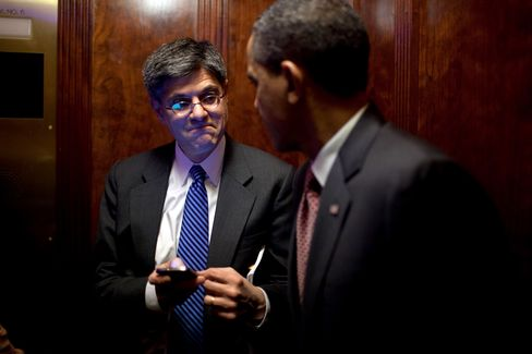 President Barack Obama talks with Chief of Staff Jack Lew during an elevator ride in the Eisenhower Executive Office Building after meeting with the Democratic Governors Association, Feb. 24, 2012. Photographer: Official White House Photo by Pete Souza