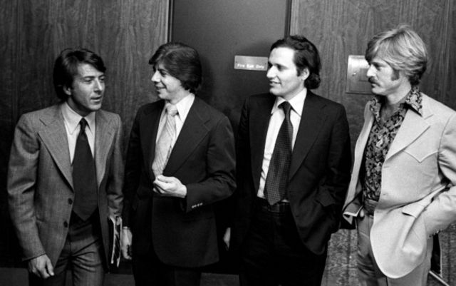 "Dustin Hoffman, Carl Bernstein, Bob Woodward and Robert Redford attend the premiere of ""All The President's Men"" on April 4, 1976 at the Kennedy Center in Washington."