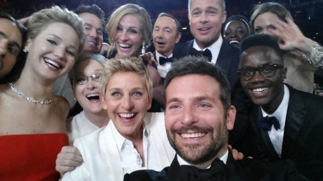 The groufie that launched a trend, and a trademark. Photographer: Ellen DeGeneres/Twitter via Getty Images