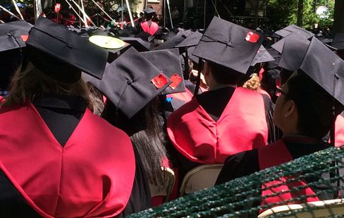 Graduation Caps with Red Tape