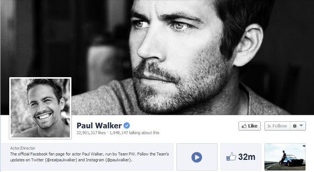 From his Facebook page, you wouldn't know Paul Walker died last fall. Source: Facebook